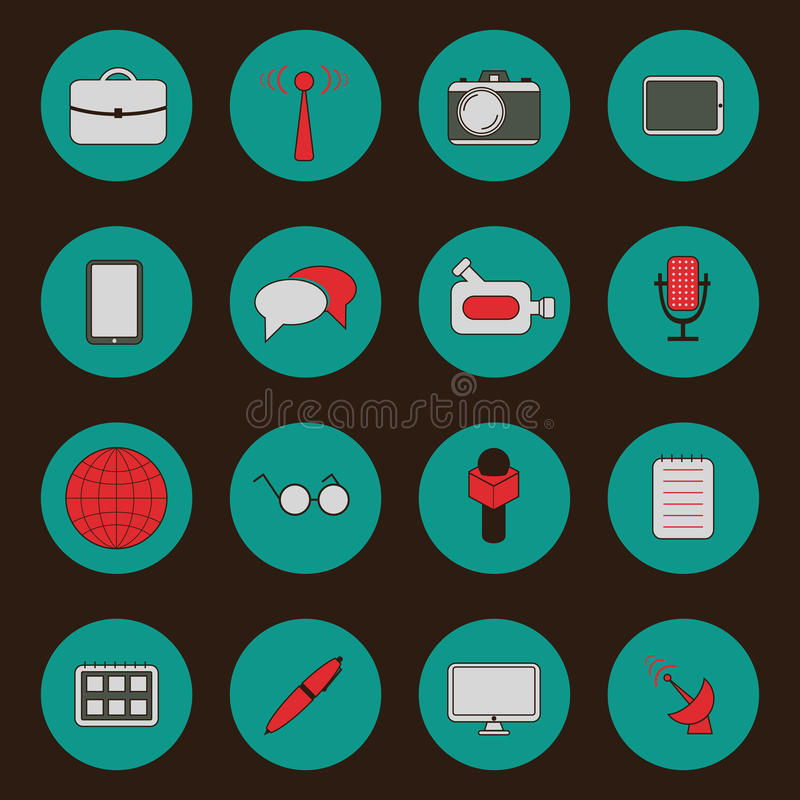 Set of flat icons on retro theme. For your design stock illustration