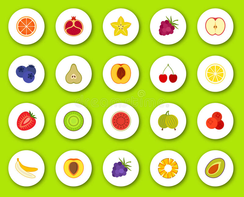 Set of flat icons on round background with shadow. Different fruits and berries stock illustration