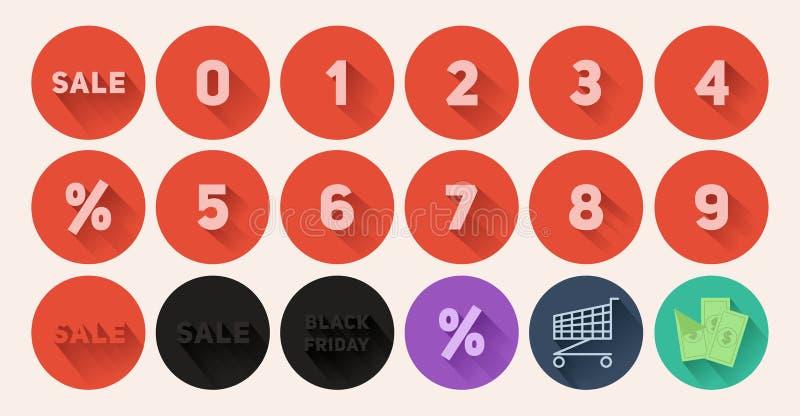 Set of flat icons Sale stock photos