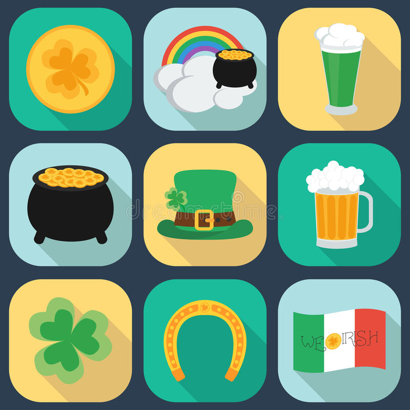 A set of flat icons on St. Patrick's Day. Shadow. royalty free illustration