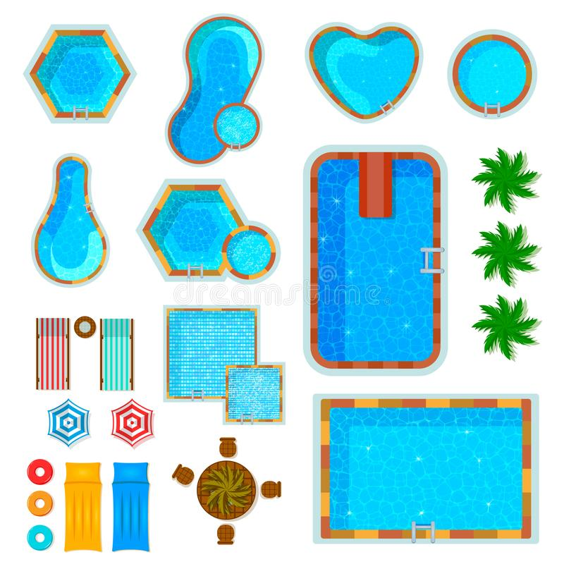 Swimming Pools Top View Set stock illustration