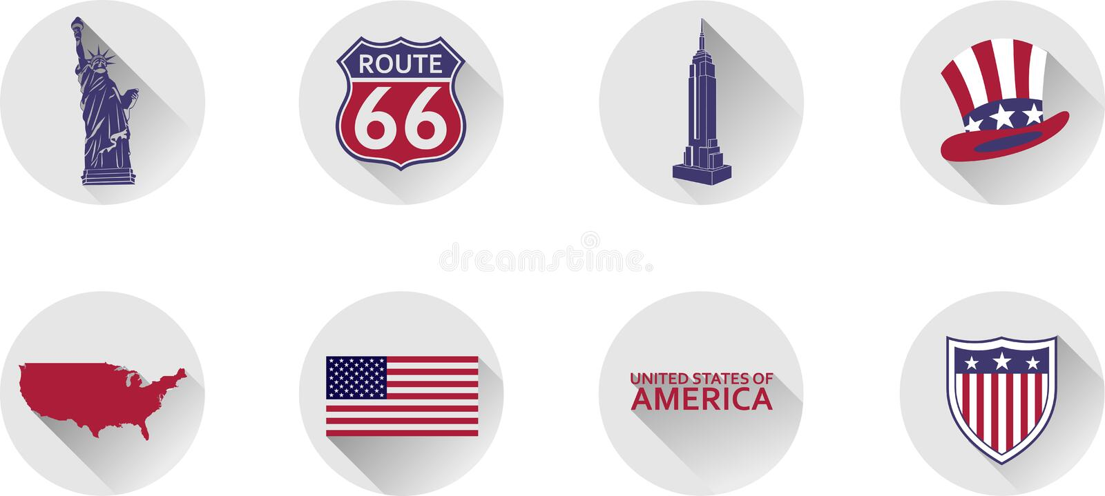 A Set of Flat Icons of the United States. stock illustration