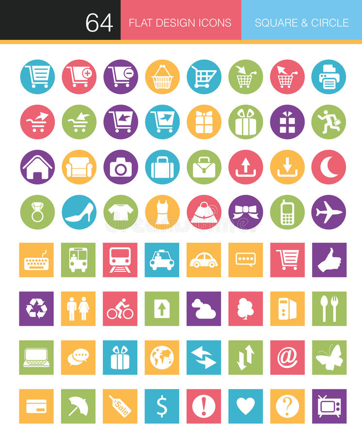Set of flat icons royalty free illustration