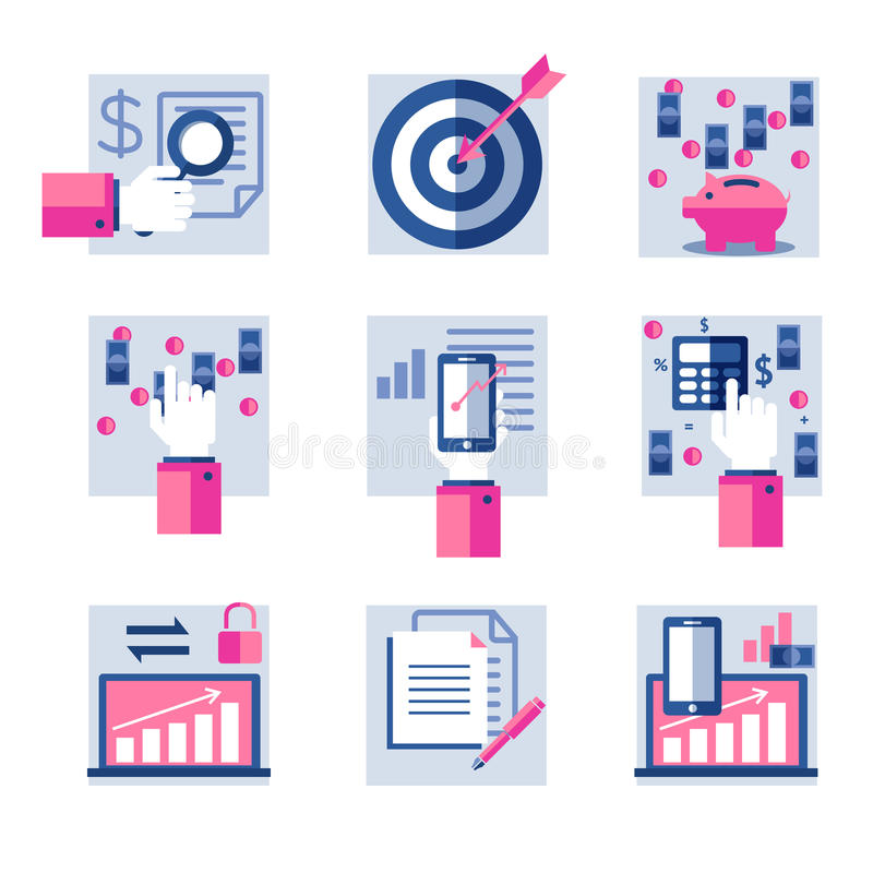 Download Set of flat icons stock image. Image of information, chart - 43448031