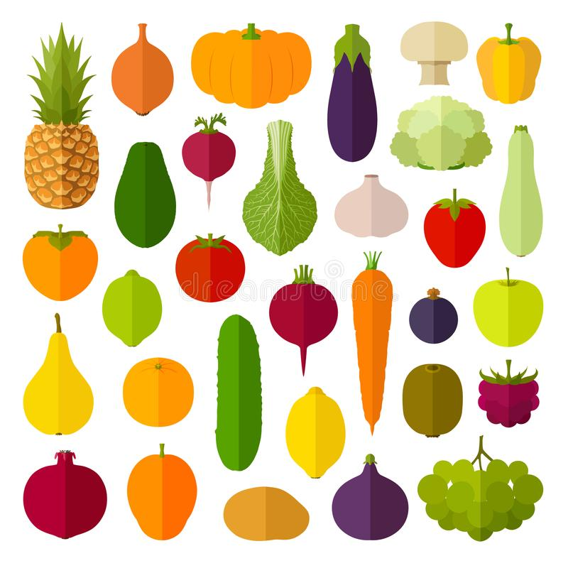 Set of flat icons. Vector vegetables and fruits. stock illustration