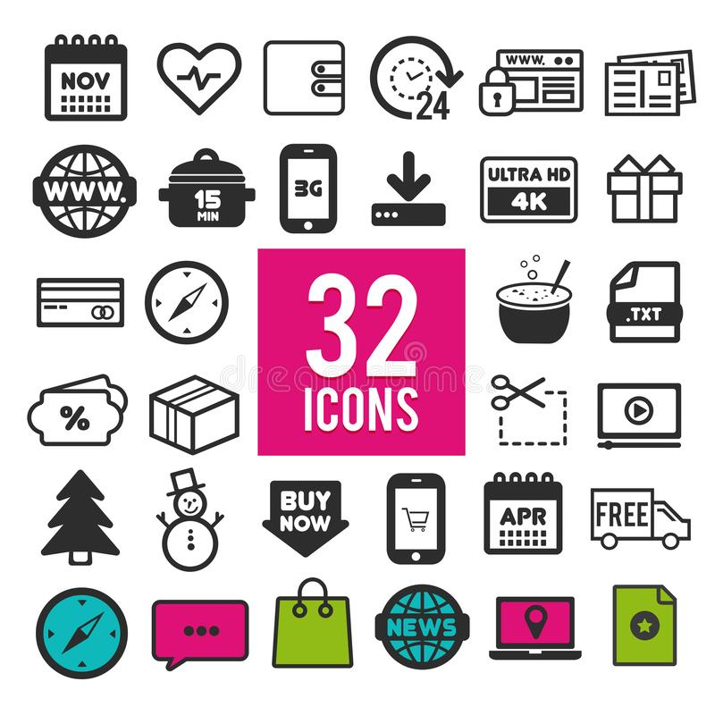 Set of flat icons for web and mobile app on white background. Collection modern infographic logo and pictogram royalty free illustration