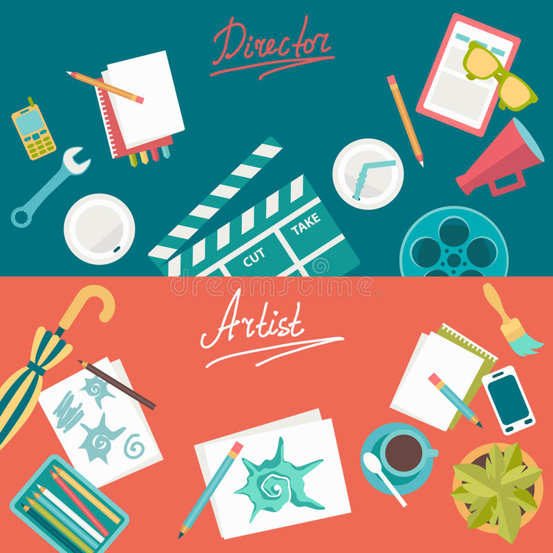 Set of flat illustration concepts for design development and movie making. Concepts for web banner and printed materials. vector illustration