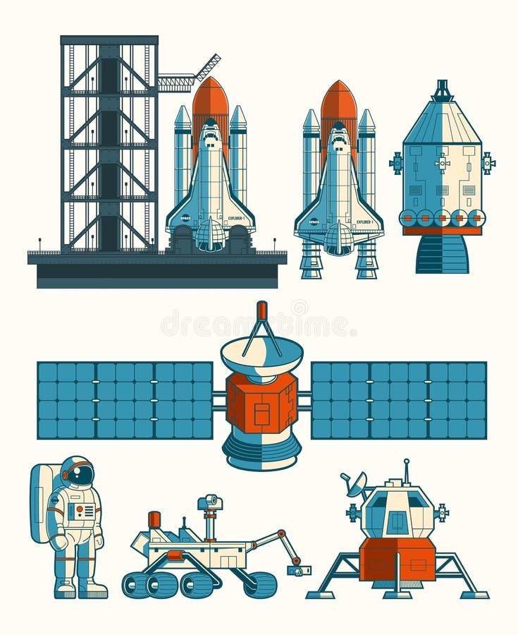 Set flat illustration on the space theme royalty free illustration