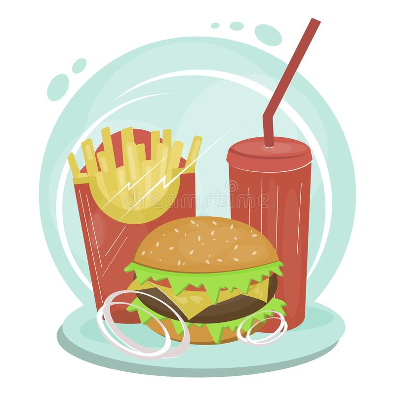 Set of flat junk food items stock illustration