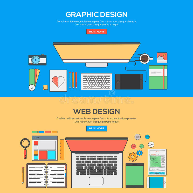 Set of Flat Line Banner Design Concept. For Graphics design and Web design. Concepts web banner and printed materials.Vector royalty free illustration