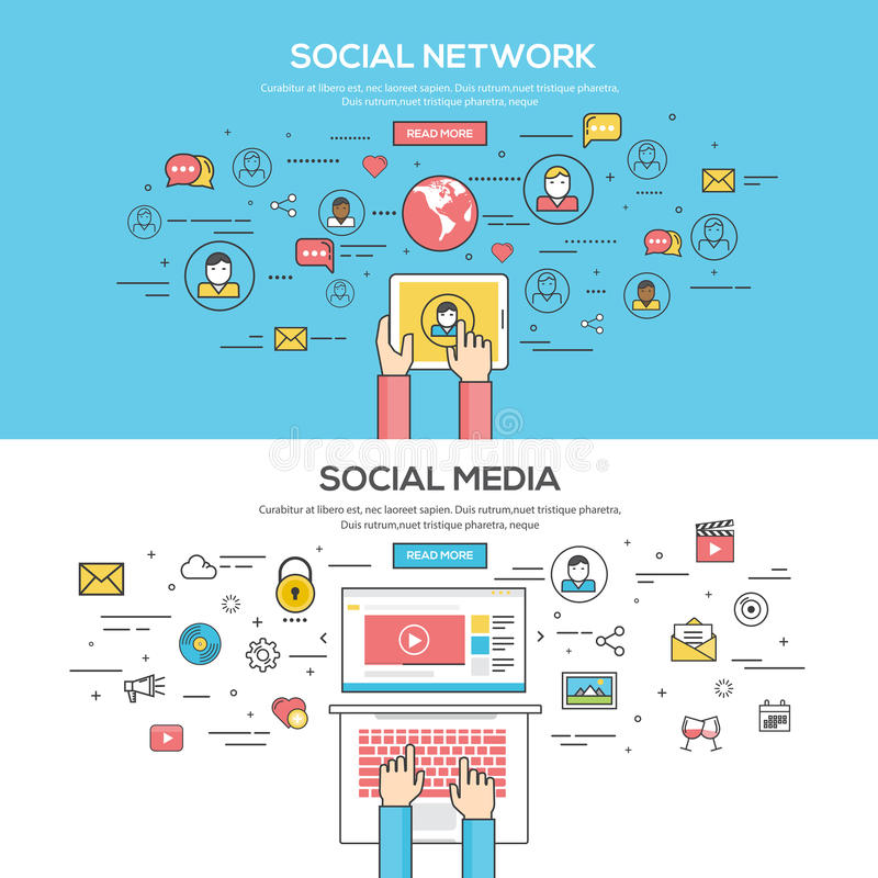 Set of Flat Line Color Banners. Design Concept for Social Network and Social Media. Concepts web banner and printed materials.Vector vector illustration