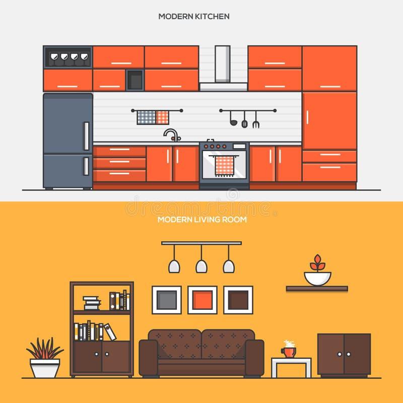 Set of Flat Line Color Banners Design Concepts vector illustration