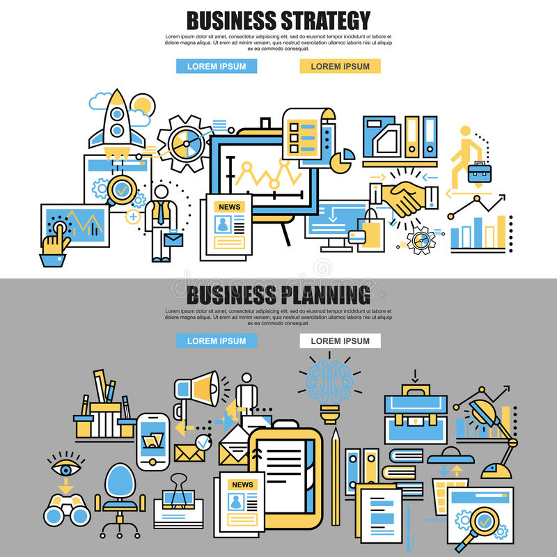 Set of flat line concept of business planning, business startup. Business analysis, business strategy, analytics, mangement, corporate business team. Web vector illustration