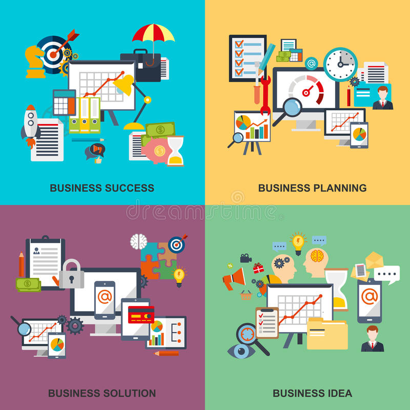 Set of flat line concept of business planning, business startup stock illustration