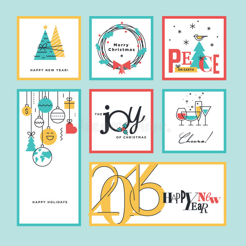 Set of flat line design christmas and new year greeting cards and download set of flat line design christmas and new year greeting cards and banners stock m4hsunfo Image collections