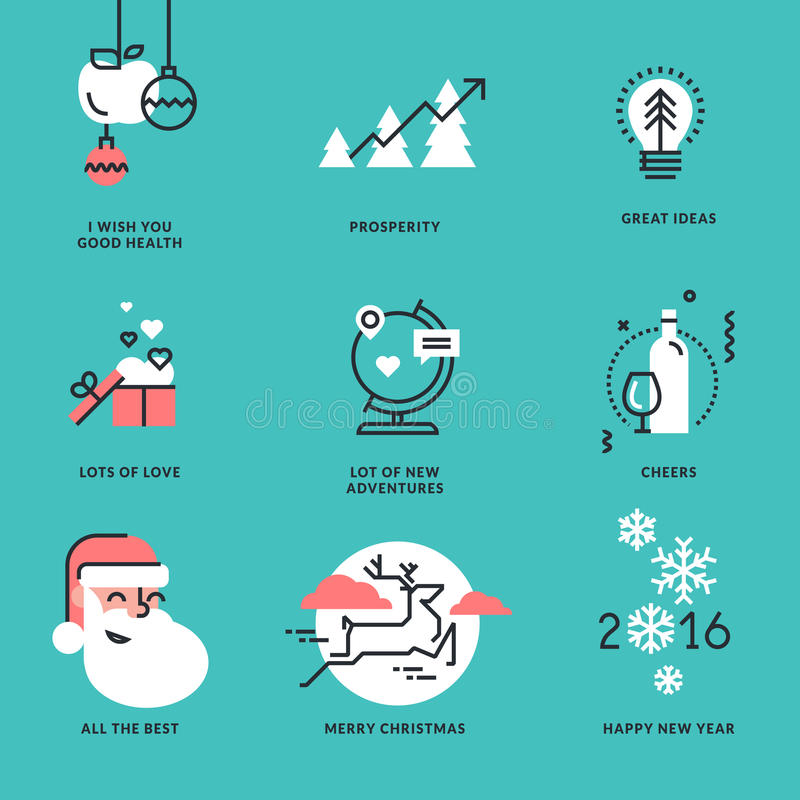 Set of flat line design Christmas and New Year signs. For greeting cards, website banners and badges, marketing materials vector illustration