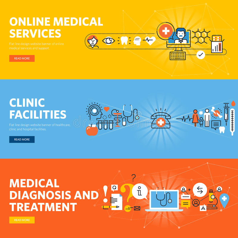Set of flat line design medical web banners. Set of flat line design web banners for online medical services, hospital and clinic facilities. Vector illustration vector illustration