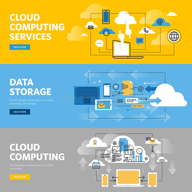 Set of flat line design web banners for cloud computing services and technology, data storage. Vector illustration concepts for web design, marketing, and vector illustration
