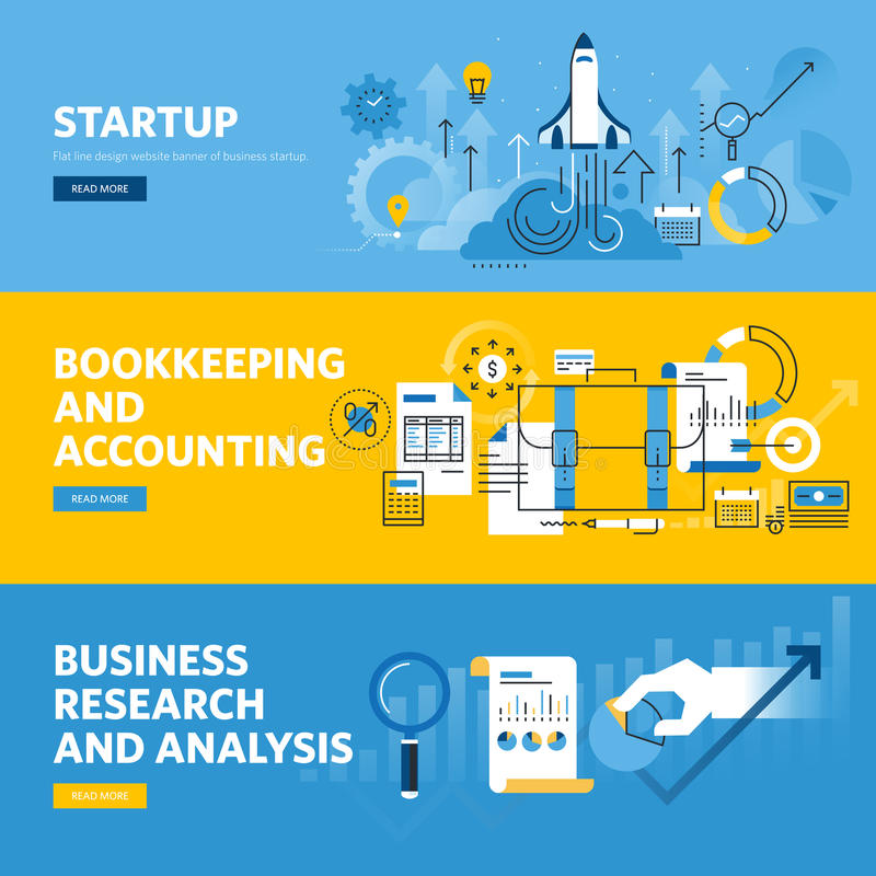 Set of flat line design web banners for company startup, finance, bookkeeping and accounting, business research and analysis vector illustration