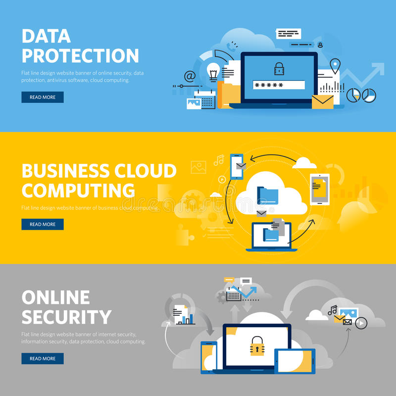 Set of flat line design web banners for data protection, internet security. Antivirus software and services, business cloud computing. Vector illustration royalty free illustration
