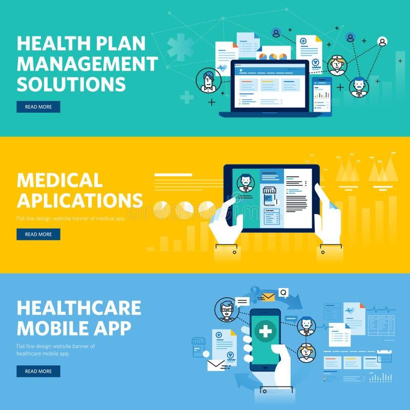 Set of flat line design web banners for healthcare mobile app, health plan management solutions. Vector illustration concepts for web design, marketing, and royalty free illustration