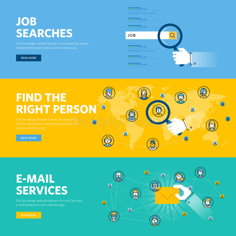 Set of flat line design web banners for job searches, human resources, e-mail services. Professional skill, employment opportunities, career. Vector vector illustration