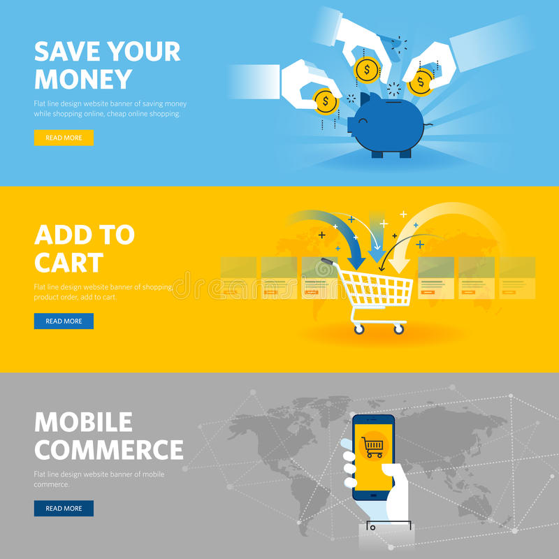 Set of flat line design web banners for mobile commerce, banking and savings, online shopping, m-banking. Vector illustration concepts for web design royalty free illustration