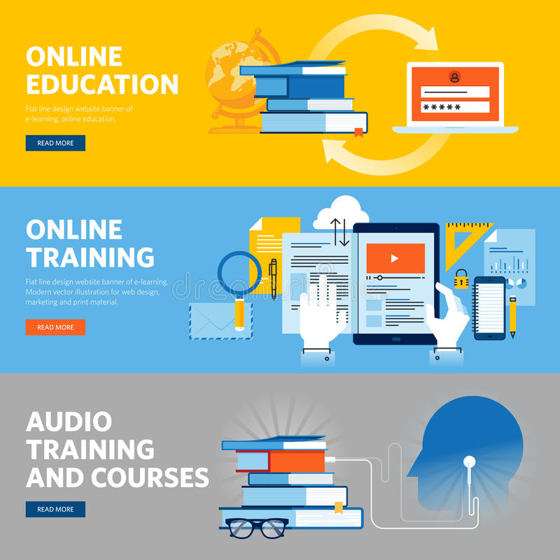 Set of flat line design web banners for online education, online training and courses. Vector illustration concepts for web design, marketing, and graphic vector illustration