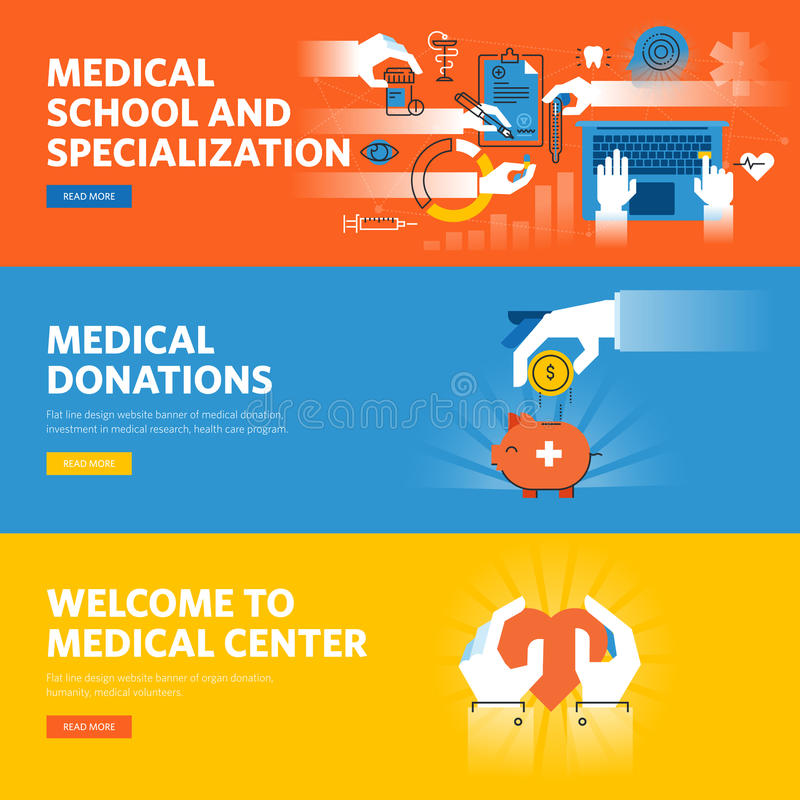 Set of flat line design web banners for online medical education, medical donations. Medical center information and facilities. Vector illustration concepts royalty free illustration