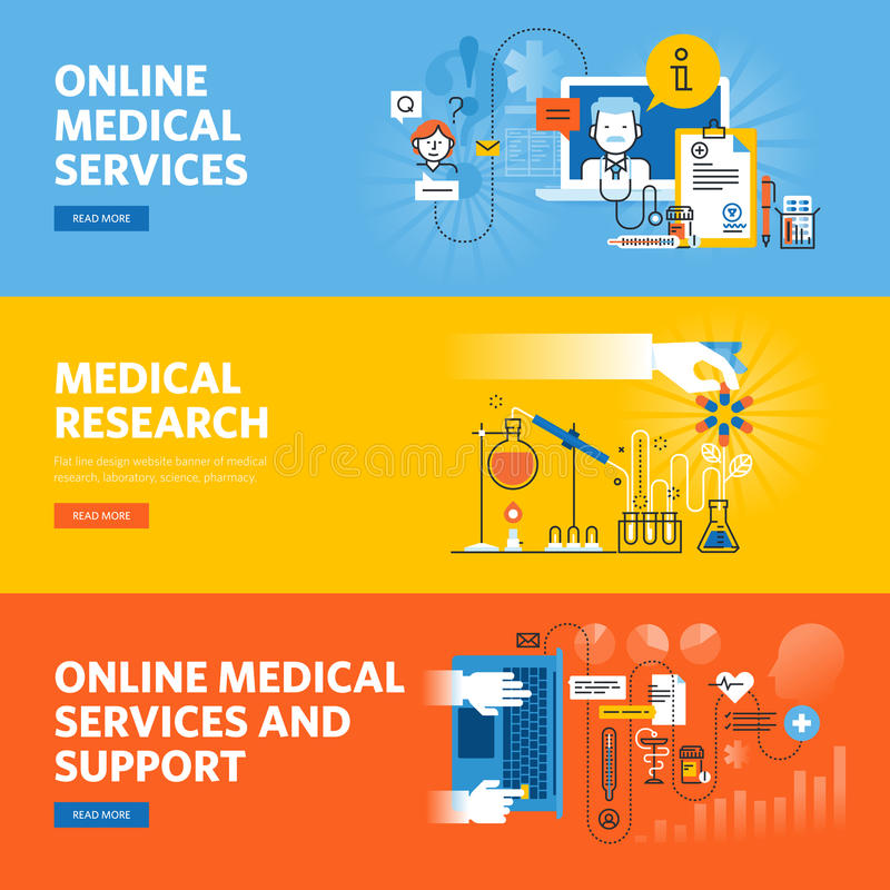 Set of flat line design web banners for online medical services and support. Medical research. Vector illustration concepts for web design, marketing, and stock illustration