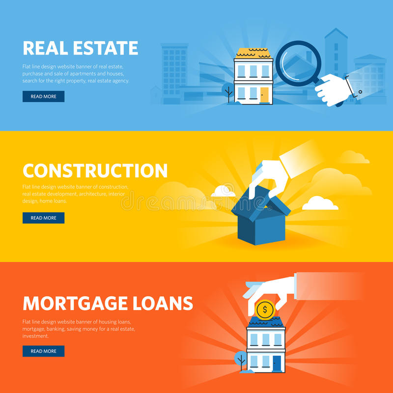Set of flat line design web banners for real estate. Construction, architecture and interior design, mortgage loans. Vector illustration concepts for web vector illustration