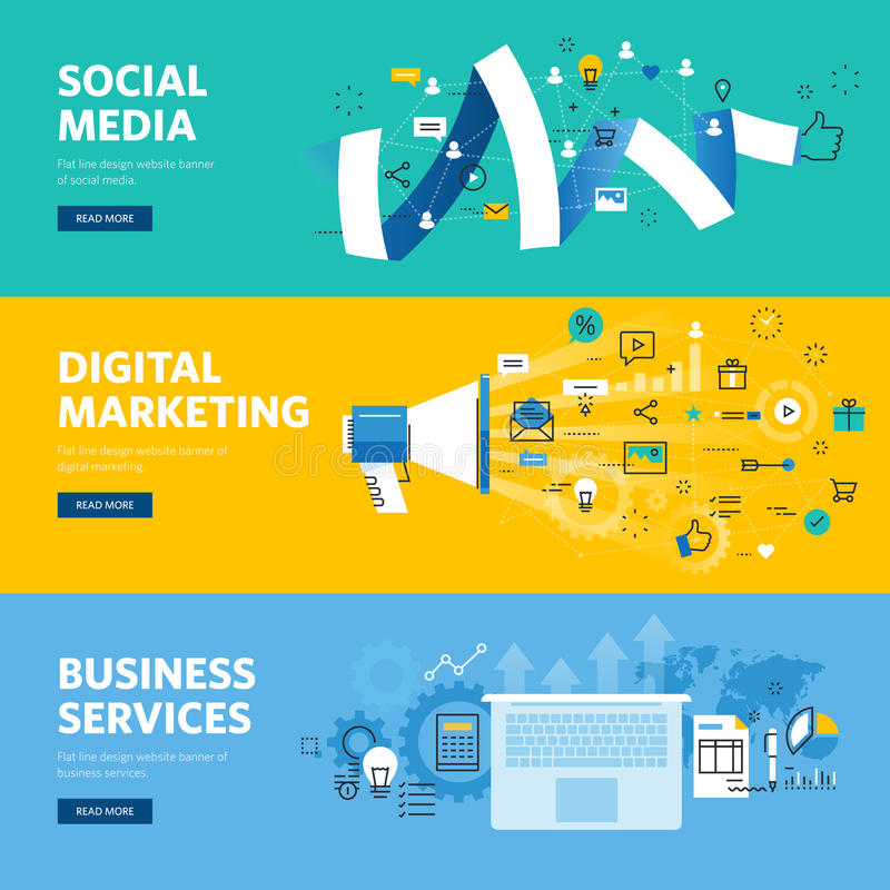 Set of flat line design web banners for social media, internet marketing, networking and business services royalty free illustration