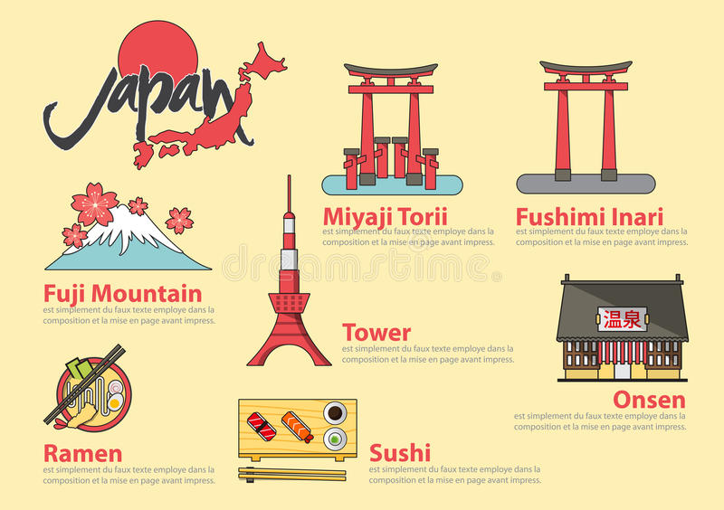 Set of flat line icon and infographic element for Japan travel.. Set of flat line icon and infographic element design . The Japanese letters mean Onsen (hot stock illustration