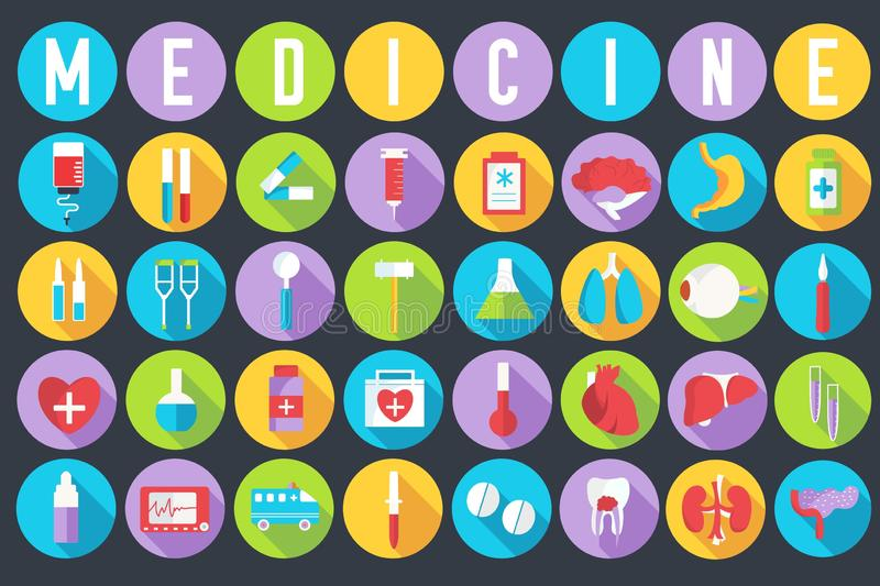 Set flat medical equipments and human anatomy body organs icons illustration concept. Vector background design. Colorful template stock illustration