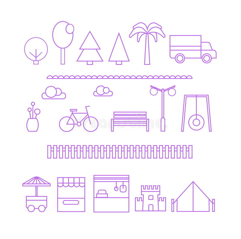 A set of flat minimalistic thin line elements for a modern city construction and design. Trees, shops, car, bike, fence vector illustration