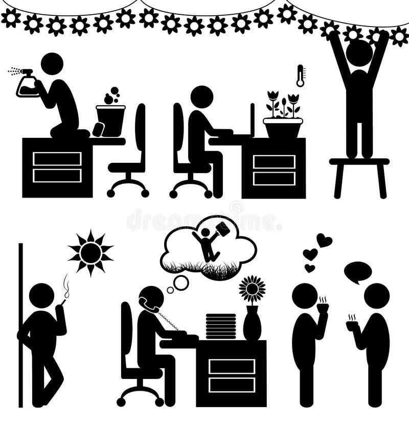 Set of flat office spring icons isolated on white. Background royalty free illustration