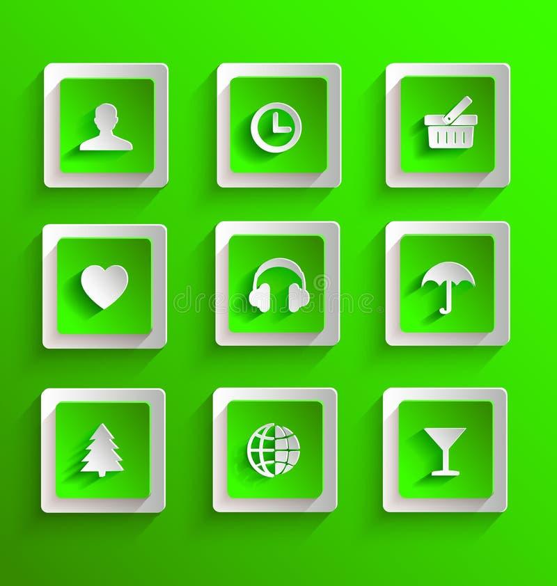 Download Set of flat paper icons stock illustration. Image of symbol - 38880959
