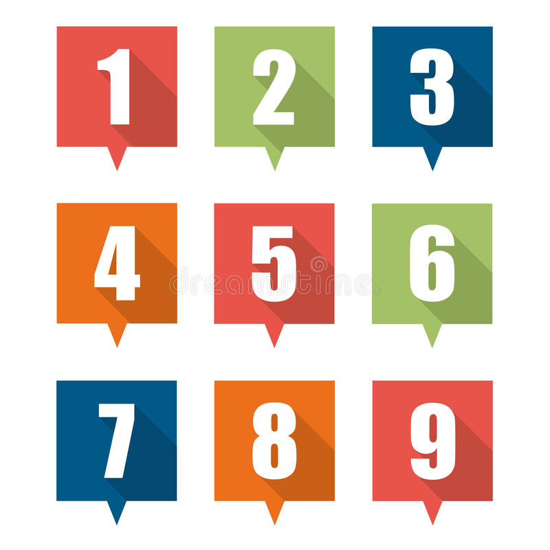 Set of flat pin marker Icons. With numbers vector illustration