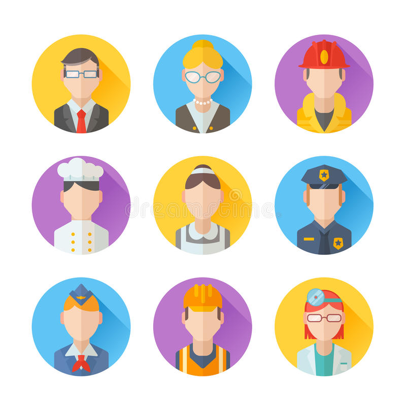 Set of flat portraits icons with people of different professions royalty free illustration