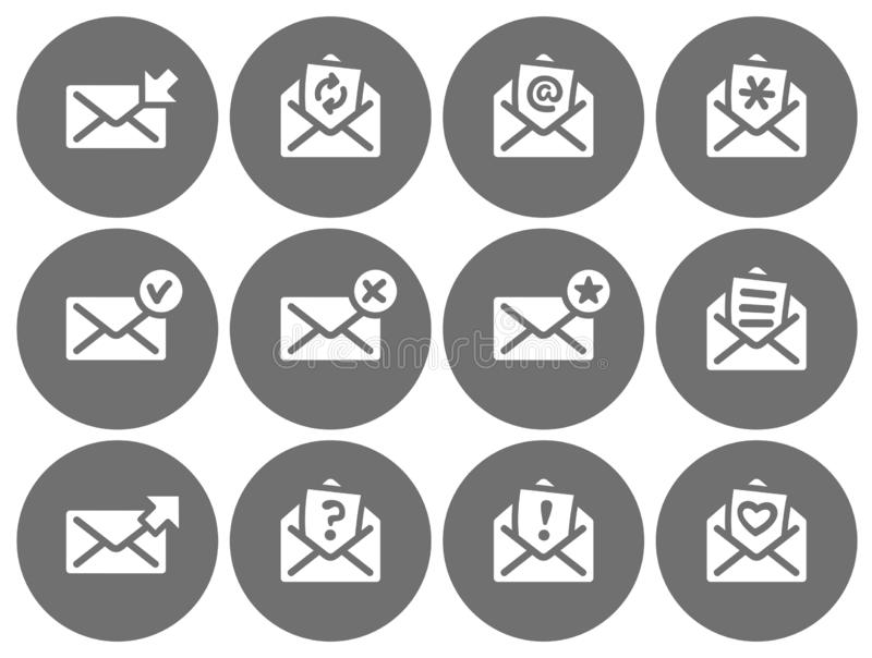 Set of flat round email icons gray series. stock illustration