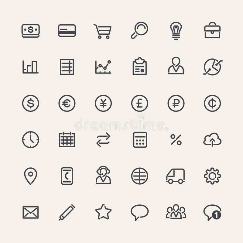 Set of Line Business Icons stock illustration