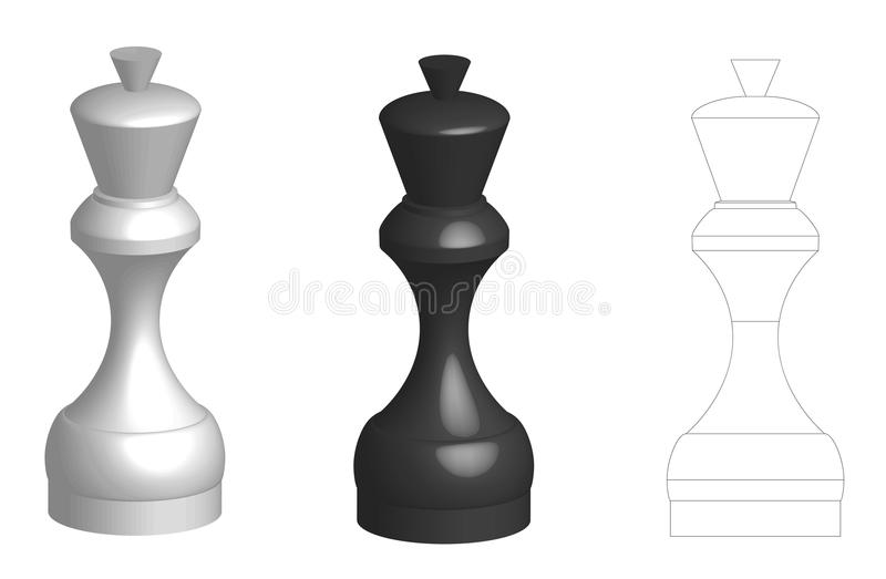 Set of flat silhouette and two 3d volume chess queens pieces royalty free illustration