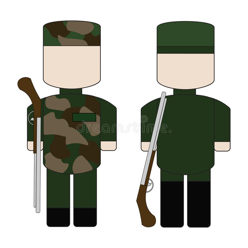 Set of flat simple military stock image