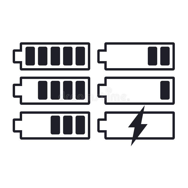 Set of flat simple web icons charge level indicators, batteries, accumulators, vector illustration. EPS vector illustration