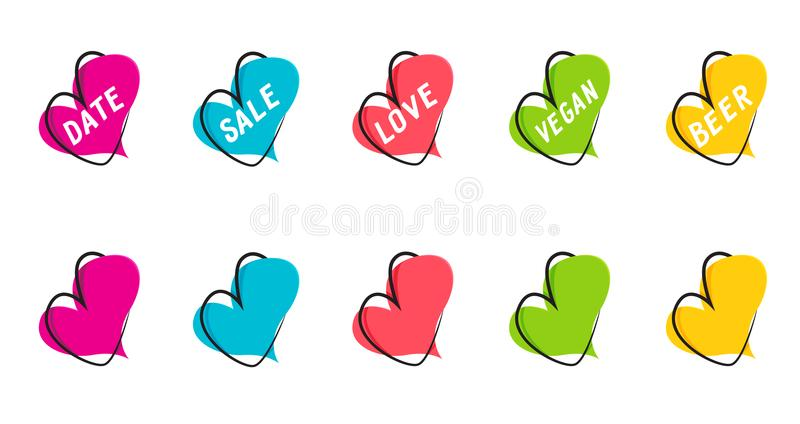 A set of flat speech bubble banners, price tags, stickers, badges in the form of hearts. stock illustration
