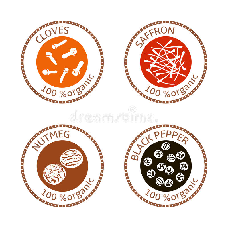 Set of flat spices stamp labels. 100 organic. collection royalty free illustration