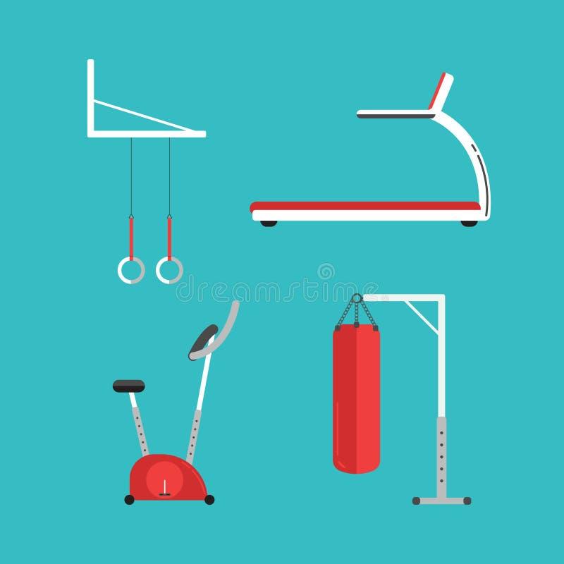 Set of flat sports equipment icons for gym training, royalty free illustration