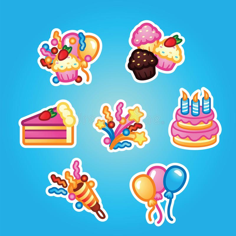 Set flat stickers Birthday cake with candles for celebration party, cake, confectionery cupcakes, colorful balloon vector illustration