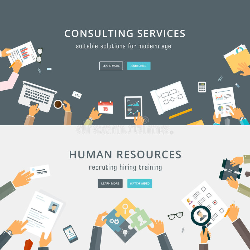 Set of Flat Style Designs. Business Concepts. Human Resources. Teamwork, Consulting, Planning, Brainstorming and Presentation Concepts Design. Marketing and