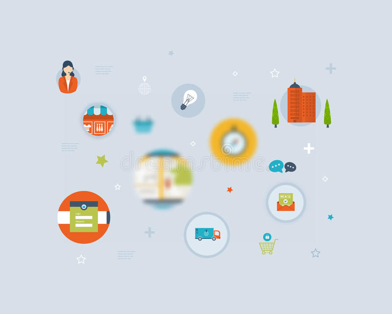 Set of Flat Style Icons. Online marketing, custom vector illustration